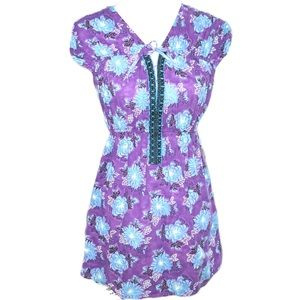 FREE PEOPLE purple floral babydoll tunic top